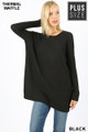 Front image of Black Wholesale Brushed Thermal Waffle Knit Round Neck Plus Size Top