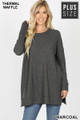 Front image of Charcoal Wholesale Brushed Thermal Waffle Knit Round Neck Plus Size Top