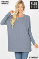 Front image of Cement Wholesale Brushed Thermal Waffle Knit Round Neck Plus Size Top
