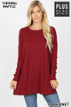 Front image of Cabernet Wholesale Brushed Thermal Waffle Knit Round Neck Plus Size Sweater