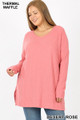 Front image of Desert Rose Wholesale Brushed Thermal Waffle Knit Round Neck Plus Size Sweater