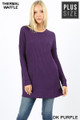 Front image of Dk Purple Wholesale Brushed Thermal Waffle Knit Round Neck Plus Size Sweater