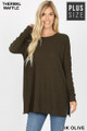 Front image of Dk Olive Wholesale Brushed Thermal Waffle Knit Round Neck Plus Size Sweater