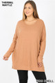 Front image of Eggshell Wholesale Brushed Thermal Waffle Knit Round Neck Plus Size Sweater