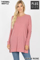 Front image of Dusty Rose Wholesale Brushed Thermal Waffle Knit Round Neck Plus Size Sweater
