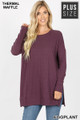 Front image of Eggplant Wholesale Brushed Thermal Waffle Knit Round Neck Plus Size Sweater