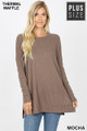 Front image of Mocha Wholesale Brushed Thermal Waffle Knit Round Neck Plus Size Sweater