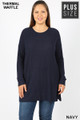 Front image of Navy Wholesale Brushed Thermal Waffle Knit Round Neck Plus Size Sweater