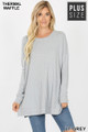 Front image of Lt Grey Wholesale Brushed Thermal Waffle Knit Round Neck Plus Size Sweater