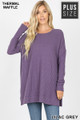 Front image of Lilac Grey Wholesale Brushed Thermal Waffle Knit Round Neck Plus Size Sweater