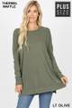 Front image of Lt Olive Wholesale Brushed Thermal Waffle Knit Round Neck Plus Size Sweater