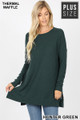 Front image of Hunter Green Wholesale Brushed Thermal Waffle Knit Round Neck Plus Size Sweater