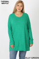 Front image of Green Wholesale Brushed Thermal Waffle Knit Round Neck Plus Size Sweater