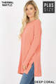 Left side image of Deep Coral Wholesale Brushed Thermal Waffle Knit Round Neck Plus Size Sweater