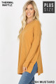 Left side image of Ash Mustard Wholesale Brushed Thermal Waffle Knit Round Neck Plus Size Sweater