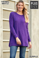 Full body view of Purple Wholesale Brushed Thermal Waffle Knit Round Neck Plus Size Sweater