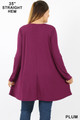 Back view of Plum Wholesale Long Sleeve Plus Size Swing Tunic with Pockets