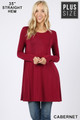 Front of Cabernet Wholesale Long Sleeve Plus Size Swing Tunic with Pockets