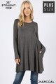 Front of Charcoal Wholesale Long Sleeve Plus Size Swing Tunic with Pockets