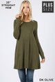 Front of Dk Olive Wholesale Long Sleeve Plus Size Swing Tunic with Pockets