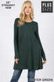 Front of Hunter Green Wholesale Long Sleeve Plus Size Swing Tunic with Pockets