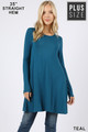 Front of Teal Wholesale Long Sleeve Plus Size Swing Tunic with Pockets