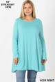 Front of Ash Mint Wholesale Long Sleeve Plus Size Swing Tunic with Pockets
