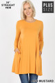 Front of Ash Mustard Wholesale Long Sleeve Plus Size Swing Tunic with Pockets