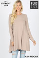 Front of Ash Mocha Wholesale Long Sleeve Plus Size Swing Tunic with Pockets