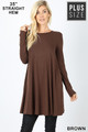 Front of Brown Wholesale Long Sleeve Plus Size Swing Tunic with Pockets