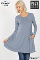 Front of Cement Wholesale Long Sleeve Plus Size Swing Tunic with Pockets