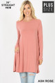 Front of Ash Rose Wholesale Long Sleeve Plus Size Swing Tunic with Pockets
