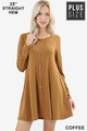 Front of Coffee Wholesale Long Sleeve Plus Size Swing Tunic with Pockets