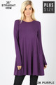 Front of Dk Purple Wholesale Long Sleeve Plus Size Swing Tunic with Pockets