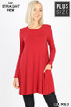 Front of Dk Red Wholesale Long Sleeve Plus Size Swing Tunic with Pockets