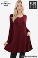 Front of Dk Burgundy Wholesale Long Sleeve Plus Size Swing Tunic with Pockets