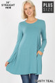 Front of Dusty Teal Wholesale Long Sleeve Plus Size Swing Tunic with Pockets