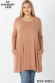 Front of Eggshell Wholesale Long Sleeve Plus Size Swing Tunic with Pockets