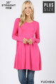 Front of Fuchsia Wholesale Long Sleeve Plus Size Swing Tunic with Pockets