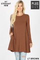 Front of Lt Red Wholesale Long Sleeve Plus Size Swing Tunic with Pockets