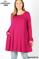Front of Magenta Wholesale Long Sleeve Plus Size Swing Tunic with Pockets