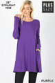Front of Purple Wholesale Long Sleeve Plus Size Swing Tunic with Pockets