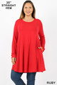 Front of Ruby Wholesale Long Sleeve Plus Size Swing Tunic with Pockets