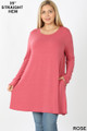 Front of Rose Wholesale Long Sleeve Plus Size Swing Tunic with Pockets