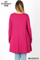 Rear view of Magenta Wholesale Long Sleeve Plus Size Swing Tunic with Pockets