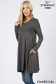Left side of Charcoal Wholesale Long Sleeve Swing Tunic with Pockets