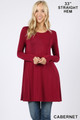 Front of Cabernet Wholesale Long Sleeve Swing Tunic with Pockets