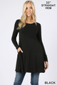Front of Black Wholesale Long Sleeve Swing Tunic with Pockets