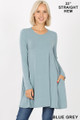 Front of Blue Grey Wholesale Long Sleeve Swing Tunic with Pockets