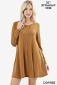 Front of Coffee Wholesale Long Sleeve Swing Tunic with Pockets